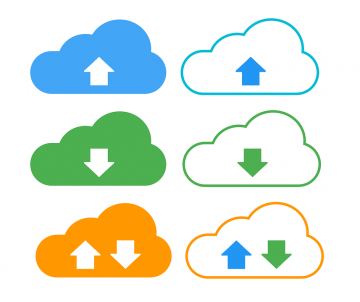 Multi-Colored Cloud Outlines Containing Up and Down Arrows